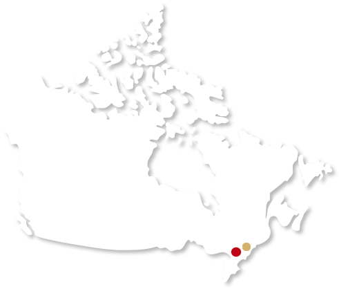 Canada map with our production sites positions